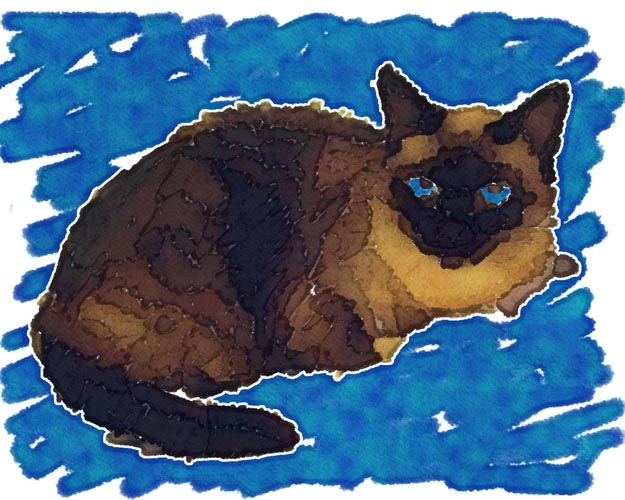 Pat Foutz's long-time companion Baby is rendered here as a piece of artwork in which John tried to capture the texture of her fur in the brush strokes.