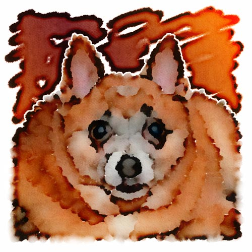 John's cousin Michael and his fianceé Sam adopted Coco as a pound dog, and John wanted to create a portrait as part of their wedding gift.  The orange and maroon background reflects the couple's Hokie heritage, but may blend a bit too well into Coco's fur.