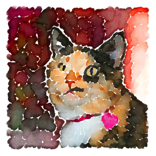 Named for Hermione's cat in the popular Harry Potter books, Crookshanks is the newest member of Erika and Wayne Furman's family and is rendered here in a colorful piece of artwork.